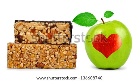 Chocolate Muesli Bars with apple isolated on white background - stock photo