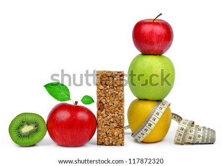 Chocolate Muesli Bars with fruits - stock photo