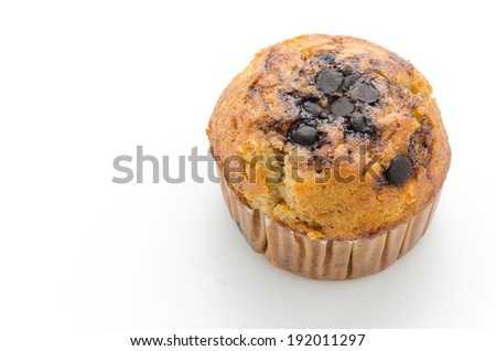 Chocolate muffin cake isolated on white