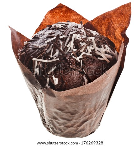 Chocolate  Muffin  in paper cupcake isolated over white background