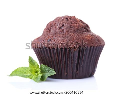Chocolate muffin isolated on white - stock photo