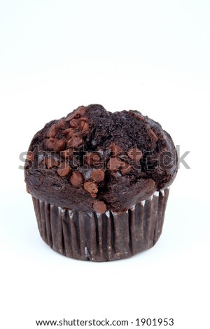 Chocolate muffin on a white background