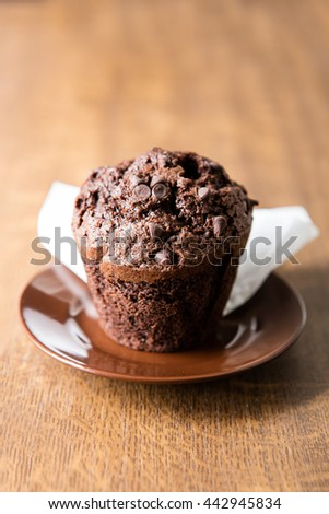 Chocolate muffin on brown