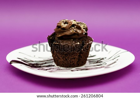 Chocolate muffin on white plate and pink background with pistachio topping - stock photo