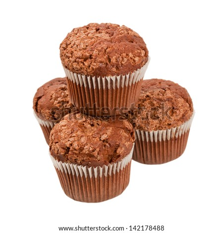 chocolate muffins isolated on white background - stock photo