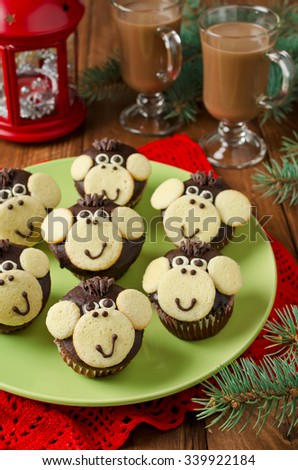 Chocolate muffins Monkey. The symbol of the New year