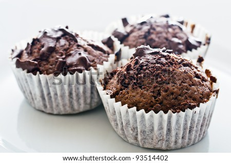 Chocolate muffins on the plate, high key, shallow DOF