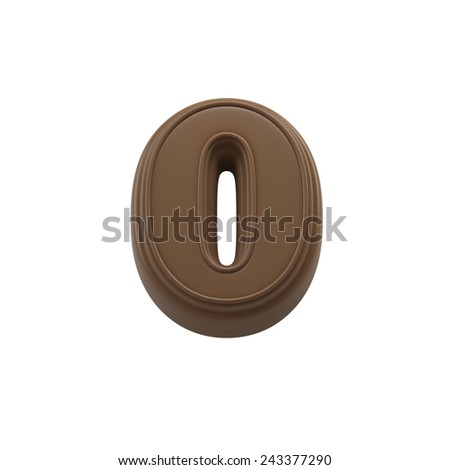 Chocolate number 0. Sweet candy font for celebration. Made in 3D. - stock photo