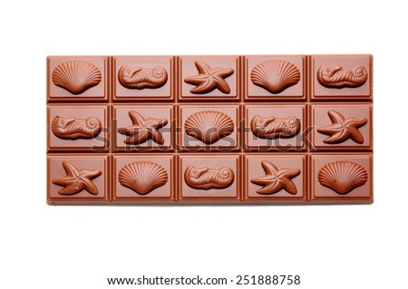 Chocolate on white background with space for text