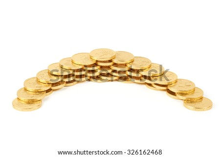 Chocolate One Euro coins in gold wrap isolated on white