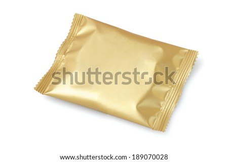 Chocolate Or Cookie In Sealed Wrapper On White Background