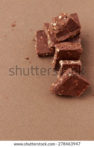 chocolate over wallpaper texture