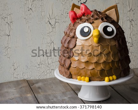 Chocolate owl kids birthday cake on wooden background. - stock photo