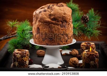 Chocolate panettone cake for Christmas - traditional Italian Christmas cake - stock photo