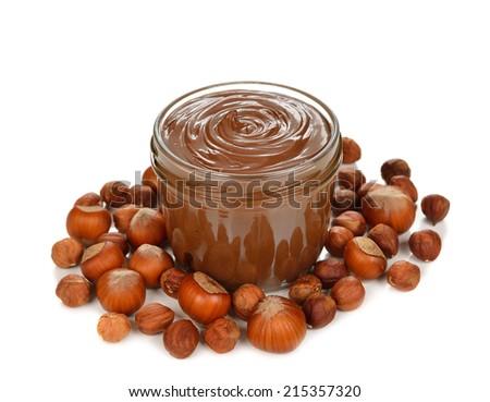 chocolate paste on a white background - stock photo