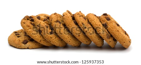 Chocolate pastry cookies isolated on white background