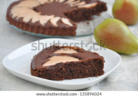 Chocolate Pear Cake - stock photo