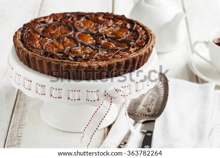 Chocolate Pecan Pie - stock photo