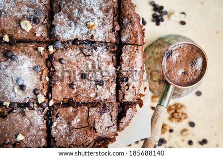 Chocolate Pie Brownie with coffee - stock photo