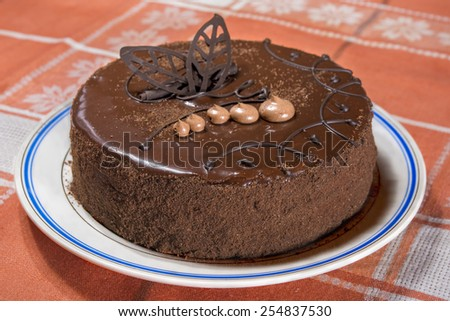 chocolate pie from above close up - stock photo