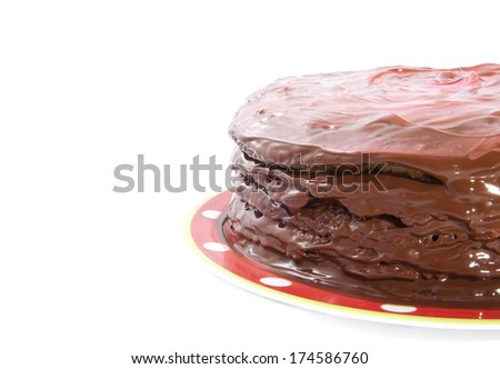 Chocolate pie on speckles plate isolated over white
