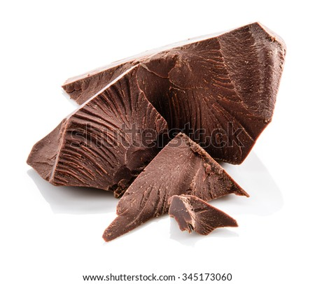 Chocolate. Pieces isolated on white.