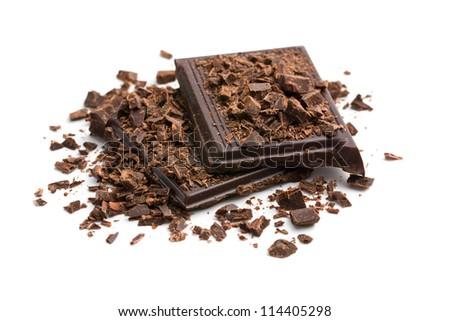 chocolate pieces on white background - stock photo