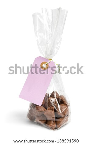 Chocolate present with blank label - stock photo