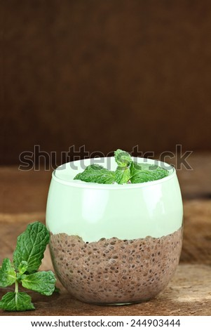 Chocolate pudding made with Chia seed and served with mint topping. Could also be pistachio pudding. Extreme shallow depth of field. - stock photo