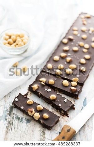Chocolate raw dessert with hazelnuts