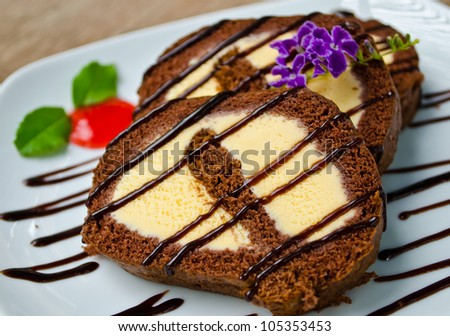 chocolate roll with vanilla ice-cream inside