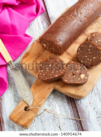 Chocolate salami - stock photo
