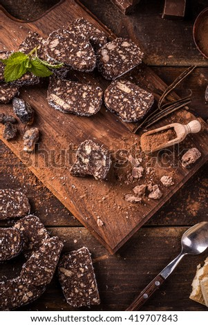 Chocolate salami slices on a chopping board