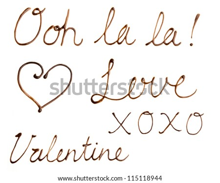 Chocolate Sauce Love Notes - Message of love written in cursive handwriting with chocolate sauce - stock photo