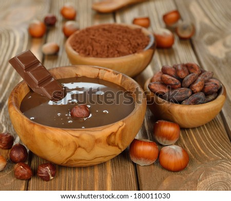 chocolate sauce on a brown background - stock photo