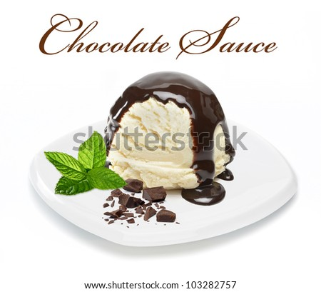 Chocolate sauce on vanilla ice cream with chocolate pieces and mint