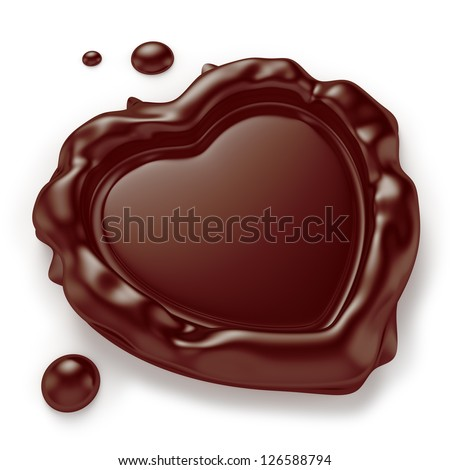 Chocolate seal in the shape of a heart isolated on white background. Computer generated image with clipping path. - stock photo