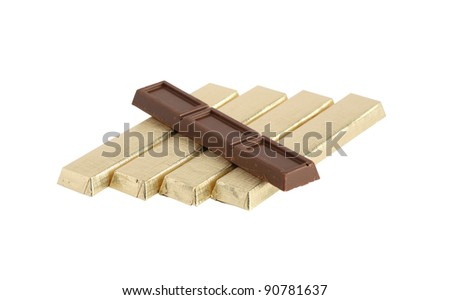Chocolate set isolated on white background with clipping path