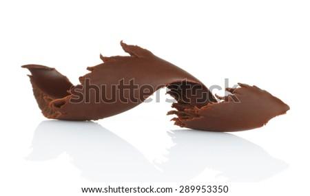 Chocolate shaving on white background  - stock photo