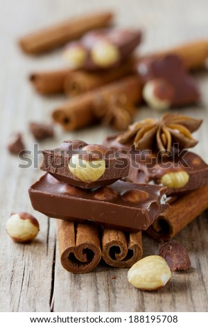 Chocolate slices with nuts, cinnamon sticks and anise star on a wooden rustic background, selective focus - stock photo