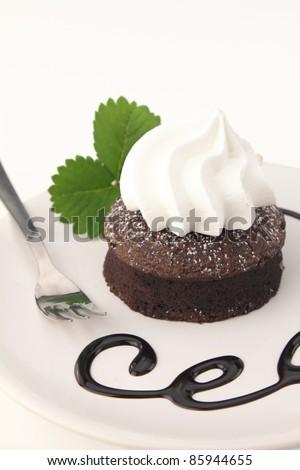 Chocolate souffle cake on a dish - stock photo