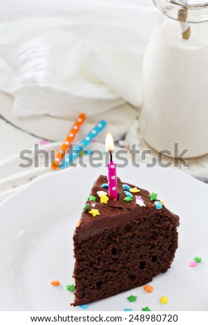 Chocolate sour cream cake with  chocolate frosting - stock photo