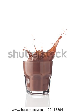 Chocolate splash in a glass isolated on white - stock photo