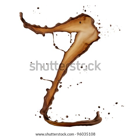 Chocolate splash letter Z isolated on white background