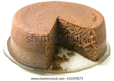 Chocolate sponge cake on a plate on white background - stock photo