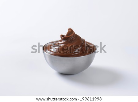 chocolate spread in the metal bowl - stock photo