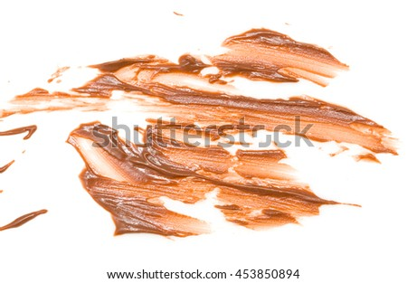 chocolate stains on a white background