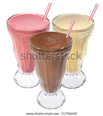 Chocolate, strawberry and vanilla ice cream milkshakes on white background