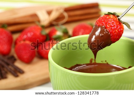 Chocolate Strawberry Fondue - stock photo