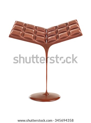 Chocolate Stream flows from chocolate bars isolated on white - stock photo